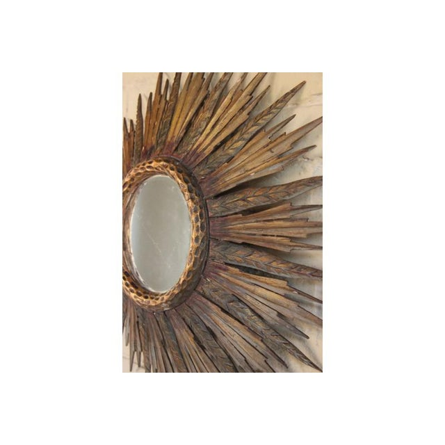 Midcentury French Sunburst Mirror With Feathered Rays and Original Mirror Glass For Sale In Wichita - Image 6 of 8