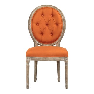 Everest Medallion Tufted Back Side Chair in Orange For Sale
