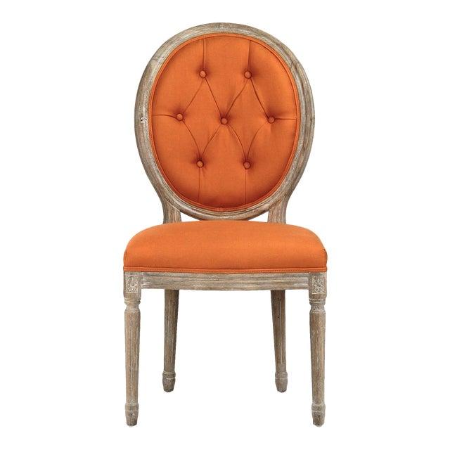 Everest Medallion Tufted Back Side Chair in Orange For Sale
