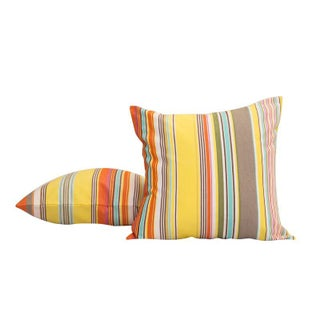 Modern Yellow French Striped Throw Pillow