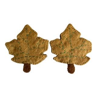 Vintage Wool Felt Leaf Hand-Made Coasters-A Pair For Sale