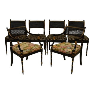 Baker Regency Style Caned Dining Chairs - Set of 6