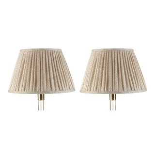 Fermoie Gathered Linen Lampshade in Ecru Figured, 6 Inch, Set of 2 For Sale