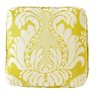 Contemporary Schumacher X Alessandra Branca Anna Damask Acid Green Square Pillow - 18x18 For Sale