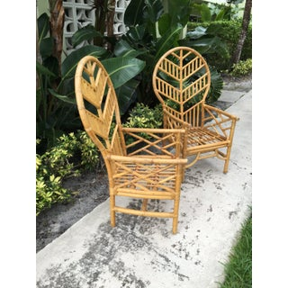 1970s Vintage Rattan Chevron Balloon Back Chinese Chippendale Arm Chairs - a Pair Preview