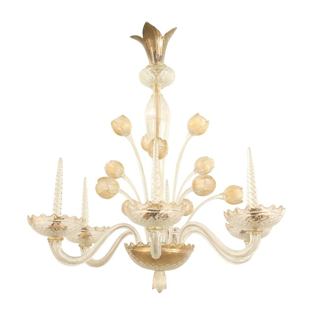 1940s Italian Murano Gold Dusted Chandelier Signed Veronese Seguso For Sale In New York - Image 6 of 6