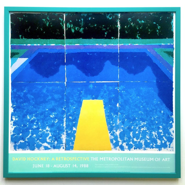"""David Hockney Rare Vintage 1988 Iconic Lithograph Print Framed Exhibition Poster """" Day Pool With Three Blues """" 1978 For Sale - Image 12 of 13"""