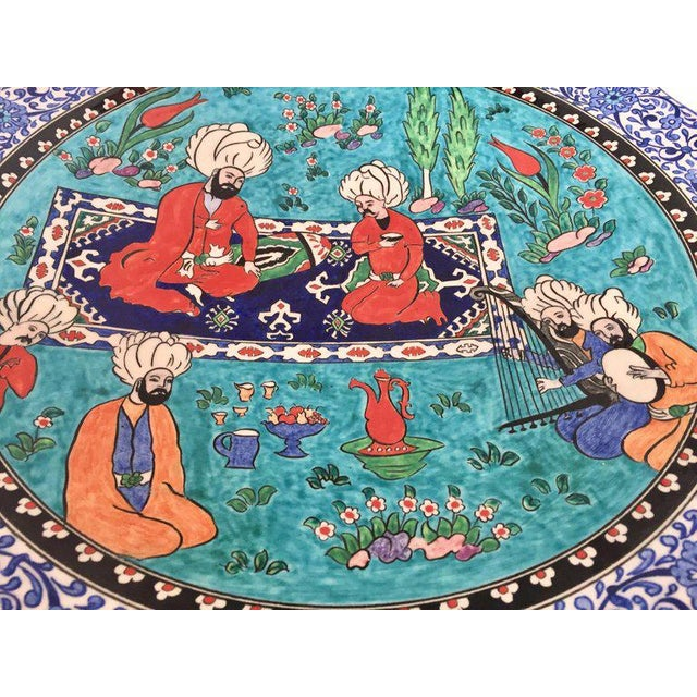 Folk Art Large Turkish Ottoman Scene Polychrome Hand Painted Ceramic Plate Kutahya For Sale - Image 3 of 13