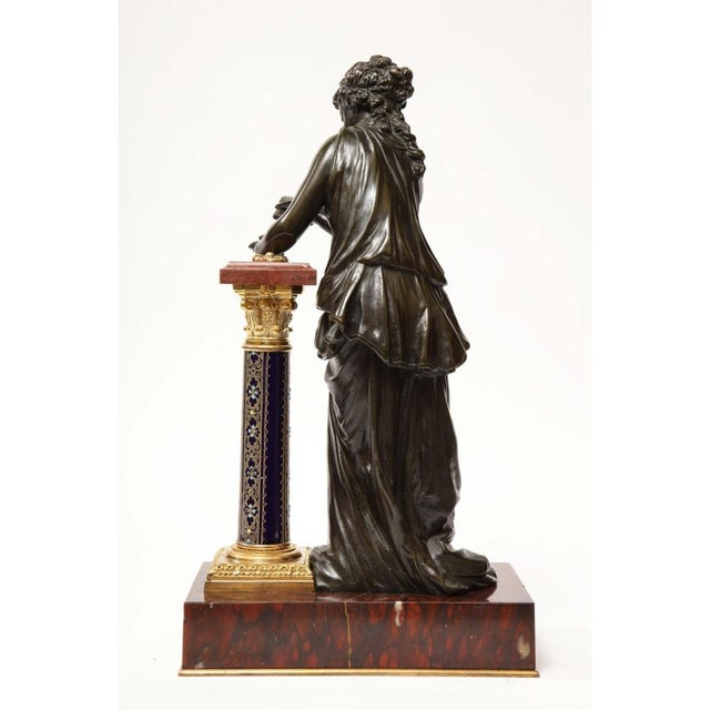 Figurative Exquisite French Bronze, Rouge Marble, and Sèvres Style Porcelain Sculpture For Sale - Image 3 of 13