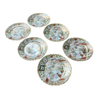 Antique Japanese Hand Painted Kutani Plates - Set of 6 For Sale