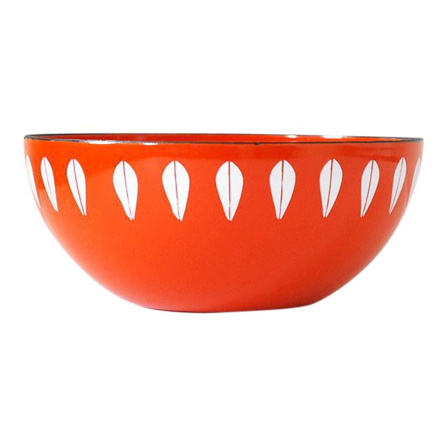 Cathrineholm Enamelware Orange Lotus Bowl, 1960s For Sale