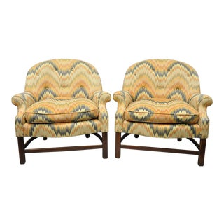 Vintage Edward Wormley Style Barrel Back Upholstered Club Chairs - a Pair For Sale