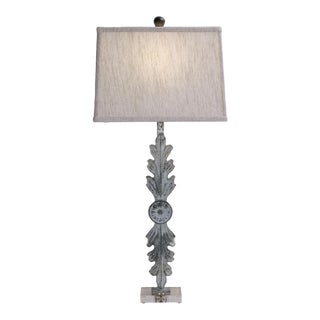 Leaf Iron Table Lamp With Acrylic Base and Linen Shade For Sale