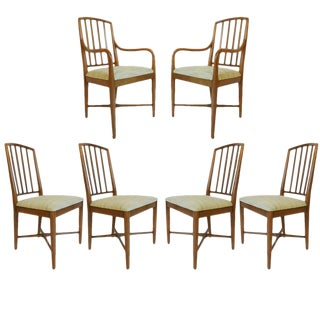 Set of 6 Curved Mid-Century Modern Sleek Edward Wormley for Drexel Dining Chairs For Sale