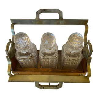19th Century Victorian Cut Crystal Oak Framed Tantalus Decanter Silver Mounted - 4 Piece Set For Sale