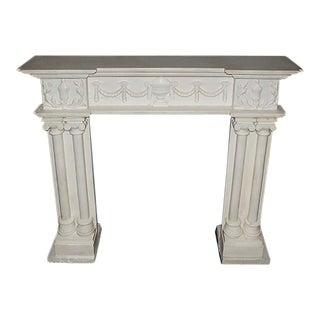 19th Century Georgian Style White Marble Fireplace Mantel For Sale
