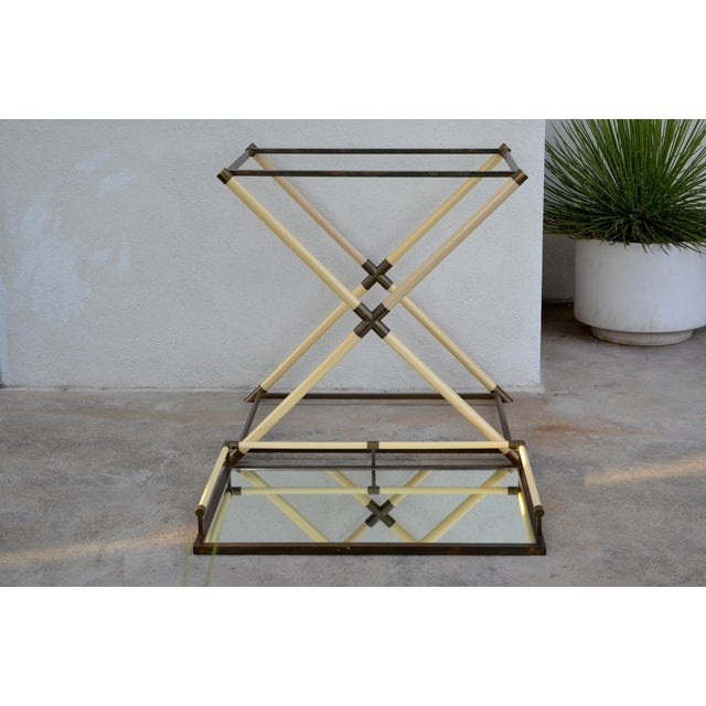 White Chic Mirrored and Patinated Brass Bar Cart by Maison Jansen For Sale - Image 8 of 9
