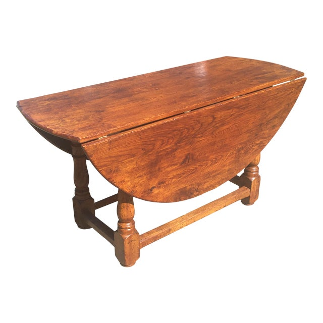 Rustic Oak Drop Leaf Dining Table For Sale