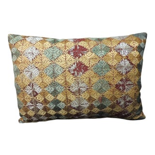 """Decorative Bolster Pillow With Indian """"Phulkari"""" Vintage Textile For Sale"""