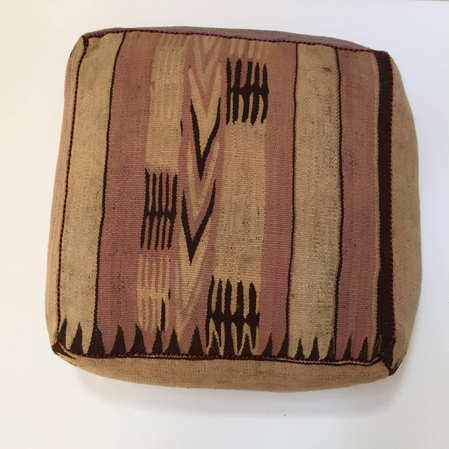 Moroccan Tribal Floor Pillow Seat Cushion Made From a Vintage Berber Rug For Sale - Image 10 of 13