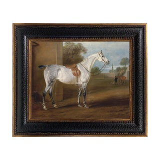 Leed's Grey Hunter Framed Oil Painting Print on Canvas in Leather-Look Black and Antiqued Gold Frame For Sale