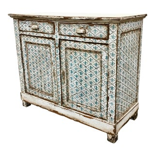 18th C French Painted Buffet With Fleur DI Lis Motif For Sale