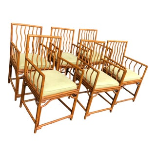 Palacek Pierce Martin Bamboo Dining Arm Chairs - Set of 6 For Sale