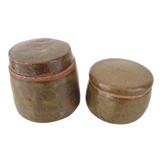 Lidded Pottery Jars - a Pair For Sale