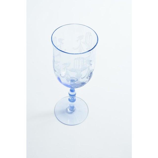Vintage Etched Crystal Wine / Water Glassware Set For Sale - Image 9 of 13