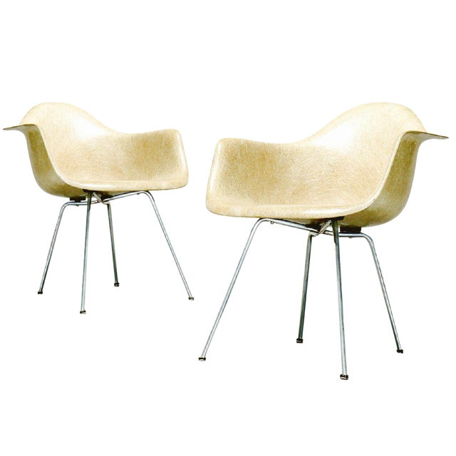 Last Call 1951 Eames Roped Edge Dax Zenith Armchairs - a Pair For Sale