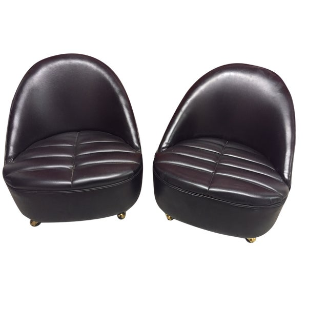 Mid-Century Black Accent Chairs on Casters - Pair - Image 1 of 6