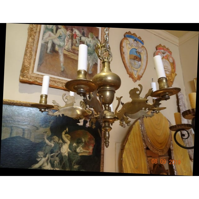 19th Century Belgium Brass Chandelier For Sale - Image 9 of 10