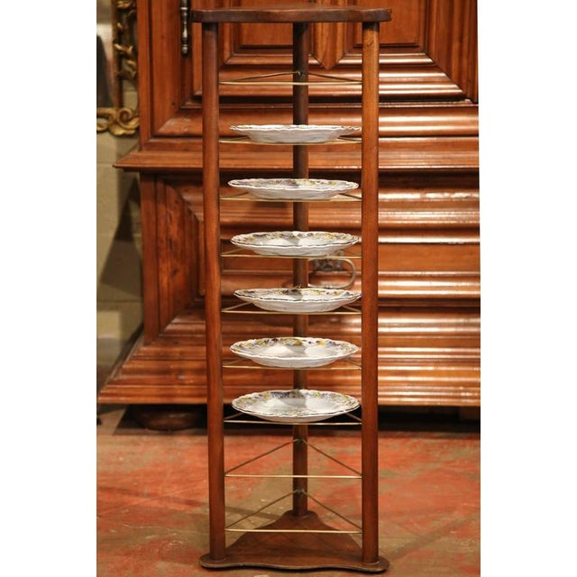 Brown 19th Century French Louis Philippe Walnut Plate Rack For Sale - Image 8 of 9