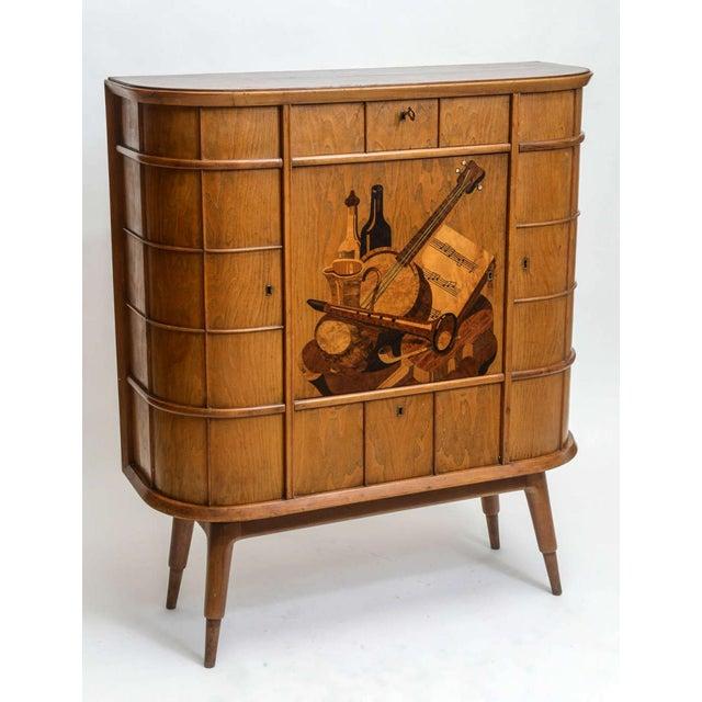 Italian Italian Modern Ash, Walnut, Olivewood, Mahogany Bar Cabinet, Luigi Scremin For Sale - Image 3 of 8