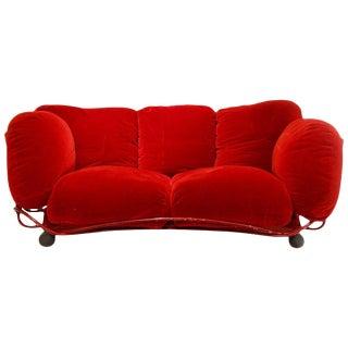 Edra Red Velvet Sofa For Sale