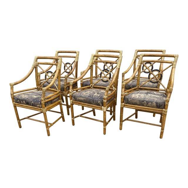McGuire Bamboo Target Back Dining Chairs -Set/6 For Sale