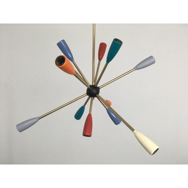 Mid-Century Modern 1950s Sputnik Pendant Chandelier Lamp in Different Colors For Sale - Image 3 of 10