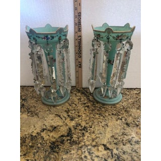 Antique Hand Painted Green Lusters - a Pair Preview