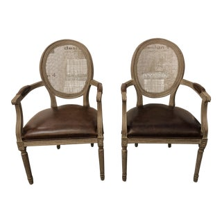 Pair of Restoration Hardware Vintage French Round Leather Armchair For Sale