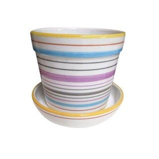 Tiffany & Co Striped Modernist Planter Pot & Saucer For Sale