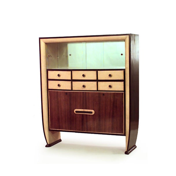 Mid-Century Modern Italian 1940s Rosewood and Parchment Cabinet For Sale - Image 3 of 3