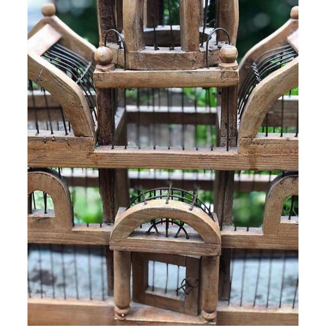 1930s Antique Wooden Bird Cage For Sale - Image 5 of 6