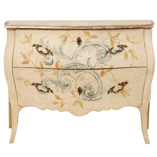 Italian Hand-Painted Bombé Chest of Drawers For Sale