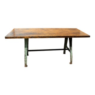 Industrial Maple Accent Table with Cast Iron Legs