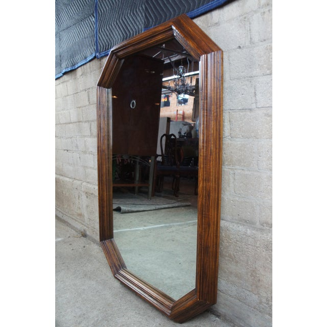 "1970s 1979 Henredon Oak Octogon Shaped Traditional Vanity Dresser Wall Mirror 48"" For Sale - Image 5 of 11"