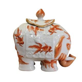 Vintage Oriental Crackle Off White Base Orange Fishes Elephant Shape Urn For Sale