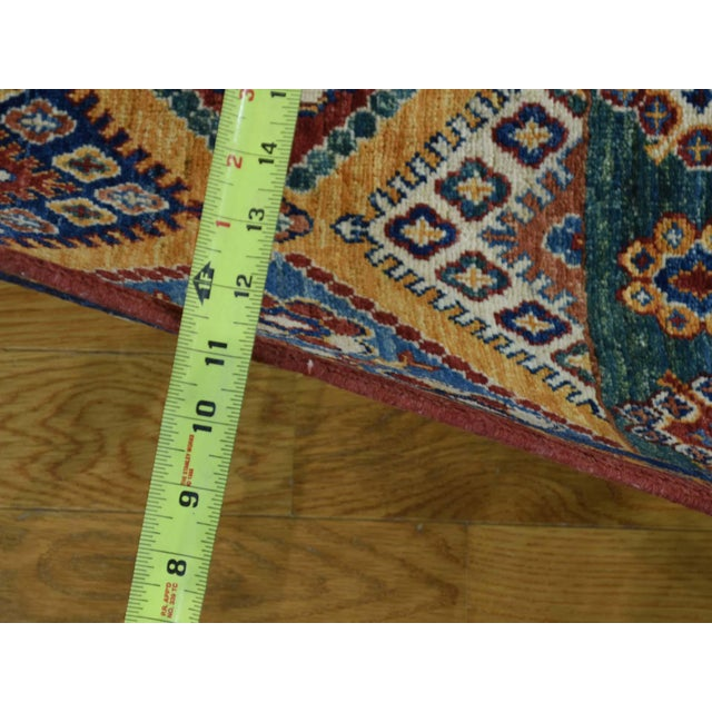 Kazak Khorjin Hand-Knotted Pure Wool Rug For Sale - Image 11 of 13