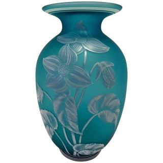 Turquoise Blue Hand Painted Fenton Glass Vase For Sale