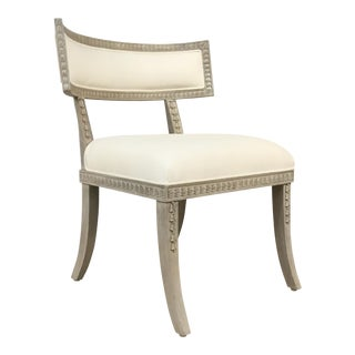 Ave Home Transitional White and Gray Klismos Aria Side Chair For Sale