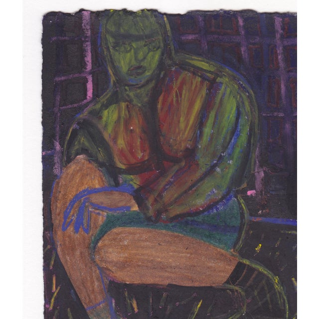 "Contemporary ""Friend With Yellow Shoe"" Oil Pastel Figurative Drawing by Aldrin Valdez For Sale - Image 3 of 5"